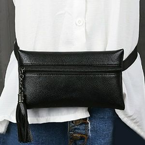 Handbags - Black Faux Leather Belted Bag